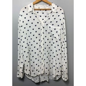 BEACHLUNCHLOUNGE Heart Print White Button Down Top
